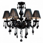Modern K9 Crystal Chandelier Light Fixture, Black LED Shinning Lustre Ceiling Pendent Lamp for Living Room Bedroom Kitchen Wall Lights