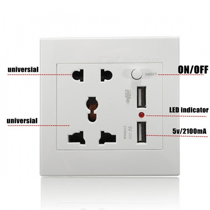 LEORY Universal 2100mA 5V 2-Port USB Outlet Power Charger Wall Socket, AC 110-250V US UK EU AU Home Wall Charger for Phone