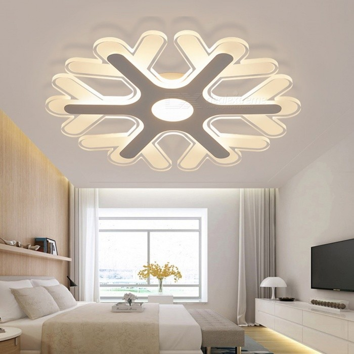 Ultra-thin Acrylic Snowflake Shape LED Chandelier Light, Modern LED Ceiling Pendent Lamp for Study Room, Kids Bedroom