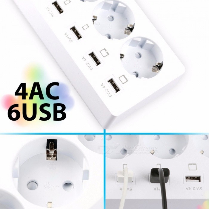DBPOWER 4-Plug 6-Port USB Outlet Power Strip, Surge Protected Extension Lead Travel Adapter USB Socket w/ 1.8m Cable