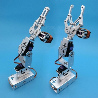 Portable 1 Set Silver 3 Dof Mechanical Arm Clamp Claw Mount Kit for Remote Control RC Smart Robot DIY With Servos