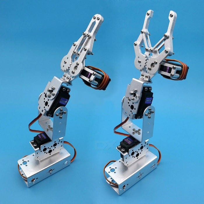 Portable 1 Set Silver 3 Dof Mechanical Arm Clamp Claw Mount Kit for Remote Control RC Smart Robot DIY