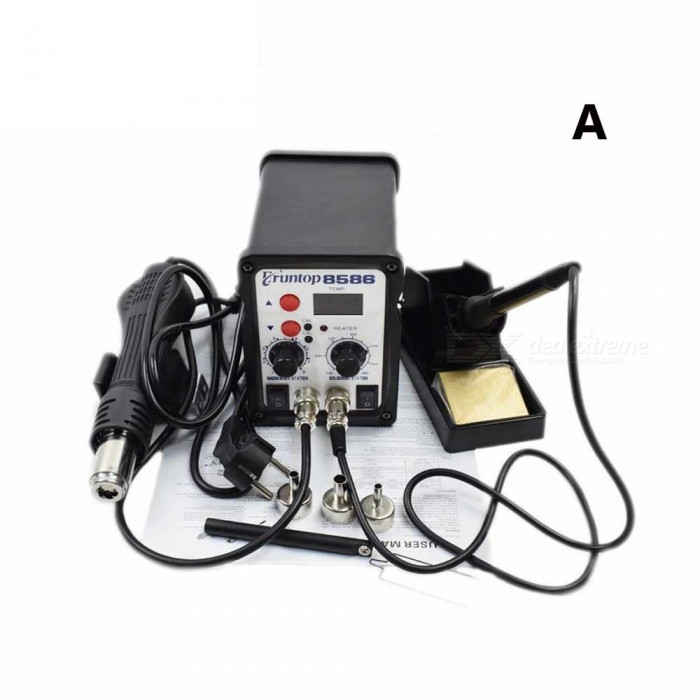 2-in-1 SMD Equipment Rework Station Eruntop 8586  Hot Air Gun + Solder Iron + Heating Element 750W 110/220V BSoldering Supplies<br>Description<br><br><br><br><br>Brand Name: Eruntop<br><br><br><br><br><br><br><br><br><br>Temperature Stability: +/-2 degrees <br><br><br>Output Temperature: 100-480degree <br><br><br>Input Voltagle: 110v/220v <br><br><br>Output Power: 750w <br><br><br><br><br><br><br><br><br>220V 750W 8586 2 in 1 SMD Rework Station Hot Air Gun&amp;nbsp;<br><br><br><br><br><br><br>8586<br> is a rework tools that combined heat gun and soldering station <br>perfectly. Not only does it operate simply and comfortable, but save <br>room largely. <br><br><br>&amp;nbsp; <br><br><br>Product Characteristics: <br><br><br>1.Multifunctional Integrated Desoldering Maintenance System Combined.by Rework Station and Soldering Station. <br><br><br>2.The<br> core of the whole machine controlled by the single and microwave chip <br>to make sure of temperature accuracy and stability of rewrk station and <br>soldering station; not simply combined by the two equipments. <br><br><br>3.Clear digital display of the current working temperature and conditions <br><br><br>4.Temperatures<br> of rework station and soldering station continuously adjusted by <br>digital buttons to meet the needs in different workplaces. <br><br><br>5.The two stations can work separately. <br><br><br>6.Intuitive fault indication function. <br><br><br><br><br><br><br><br>package A&amp;nbsp; <br><br><br>1 &amp;nbsp;x 8586 2 in 1 Soldering Station <br><br><br>3 &amp;nbsp;x nozzles <br><br><br>1 &amp;nbsp;x &amp;nbsp;IC Pick <br><br><br><br><br><br><br><br>package B <br><br><br>1 &amp;nbsp;x 8586 2 in 1 Soldering Station <br><br><br>3 &amp;nbsp;x nozzles <br><br><br>1 &amp;nbsp;x IC Pick <br><br><br>12 x solder tips&amp;nbsp; <br><br><br><br><br><br><br><br>Package C <br><br><br>1 &amp;nbsp;x 8586 2 in 1 Soldering Station <br><br><br>3 &amp;nbsp;x nozzles <br><br><br>1 &amp;nbsp;x IC Pick <br><br><br>2 &amp;nbsp;x &amp;nbsp;Heat element(1 solder iron heater,1 hot air heater) <br><br><br>2 &amp;nbsp;x solder tips <br><br><br>2 &amp;nbsp;x tweezer <br><br><br>1 &amp;nbsp;x Needle-nose pliers <br><br><br><br><br><br><br><br>Package D <br><br><br>1 &amp;nbsp;x 8586 2 in 1 Soldering Station <br><br><br>3 &amp;nbsp;x nozzles <br><br><br>1 &amp;nbsp;x ic pick <br><br><br>12x solder iron tips <br><br><br>6 &amp;nbsp;x tweezers <br><br><br>2 &amp;nbsp;x solder wire <br><br><br>1 &amp;nbsp;x cp wick <br><br><br>1 &amp;nbsp;x brush <br><br><br>2 x heat element(1 for hot air ,1 for solder iron) <br><br><br>1 x knife with balde <br><br><br>1 x suction pen&amp;nbsp; <br><br><br>1 x golden wire ball soldering <br><br><br>1 x phone open tool kit <br><br><br><br><br><br><br><br>Package E <br><br><br>1 &amp;nbsp;x 8586 2 in 1 Soldering Station <br><br><br>3 &amp;nbsp;x nozzles <br><br><br>1 &amp;nbsp;x ic pick <br><br><br>2 x solder tips <br><br><br>2 &amp;nbsp;x tweezer <br><br><br>2 &amp;nbsp;x solder wire <br><br><br>1 &amp;nbsp;x magnifier <br><br><br><br><br><br><br><br>Package F<br><br><br>1 &amp;nbsp;x 8586 2 in 1 Soldering Station <br><br><br>3 &amp;nbsp;x nozzles <br><br><br>1 &amp;nbsp;x ic pick <br><br><br>12 x Iron Tips(900M-T Series) <br><br><br>1x 6 IN 1 Help welding tool <br><br><br>2 x Anti-static Tweezers <br><br><br>1 x Solder wire <br><br><br>1 x Soldering iron heater <br><br><br>1 x Hot air Gun heater <br><br><br>1 x Iron tip Clean Steel Ball <br><br><br>1 x Desoldering Pump<br>