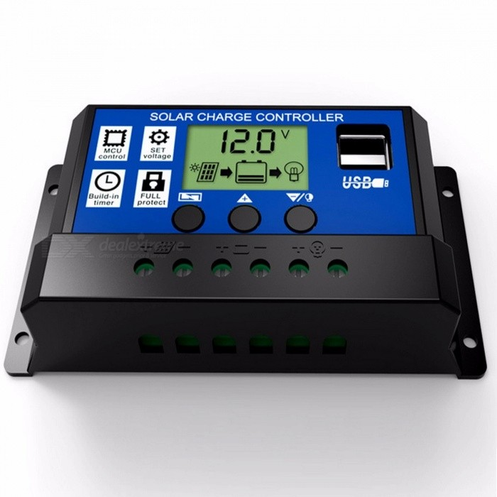 12V 24V Intelligence Solar Cell Panel Battery Charge Controller Regulator with 5V Dual USB Port, LCD Display