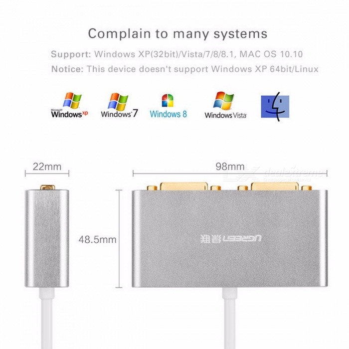 Ugreen USB 3.0 to Dual-DVI HDMI VGA External Multi-Display Adapter, High Premium Converter Cable for Windows XP/Vista/7/8/8.1