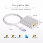 Ugreen USB 3.0 to DVI/HDMI/VGA External Mult-Display Adapter, High Premium 1066MHz  80cm Cable Adapter, Support 6 Mointors Sliver
