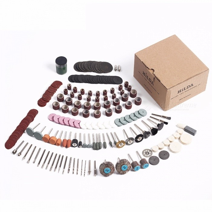 HILDA 248Pcs Portable Rotary Tool Accessories Kit for Easy Cutting Grinding Sanding Carving and Polishing