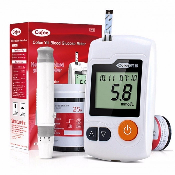 Yili Blood Glucose Meter with 50/100 Pieces Test Strips and Lancets Needles of Cofoe for Diabetic Medical Monitor Glucometer meter with 50strips