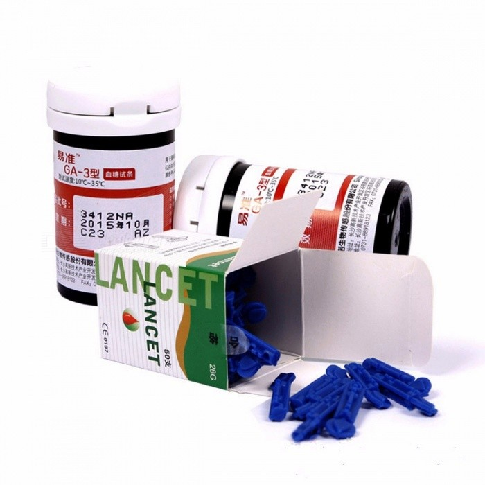 Sannuo 50/100 Pieces Test Strips w/ Lancets Needles without Glucose Meter for Yizhun GA-3 Device Blood Collection Medical Tools  Only 100 test stripsBlood Glucose<br>Description<br><br><br><br><br>Item Type: Blood Glucose<br><br><br>Brand Name: SINOCARE<br><br><br><br><br>Commodity Quality Certification: 3C<br><br><br><br><br><br><br><br><br><br>Size: only 50/100 pcs test strips and 50/100 pcs needles <br><br><br> <br><br><br>Product name: Sannuo Yizhun GA-3 blood Test Strips <br><br><br>Item Type: Only test strips and lancet needles<br>