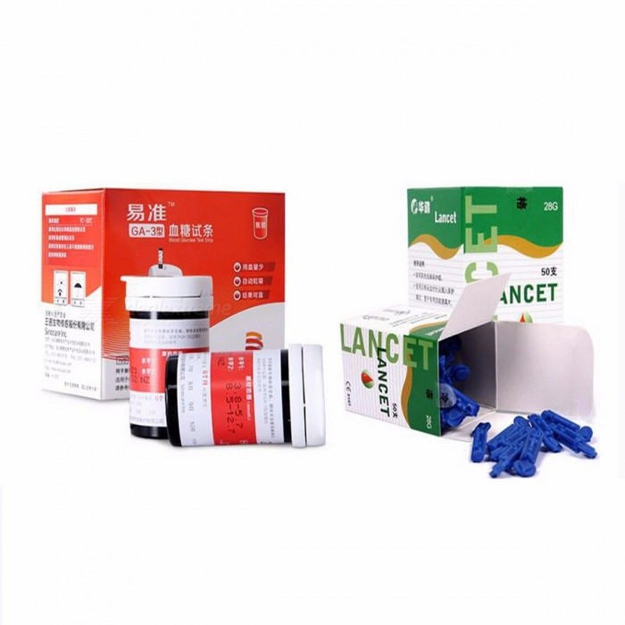 Sannuo 50/100 Pieces Test Strips w/ Lancets Needles without Glucose Meter for Yizhun GA-3 Device Blood Collection Medical Tools