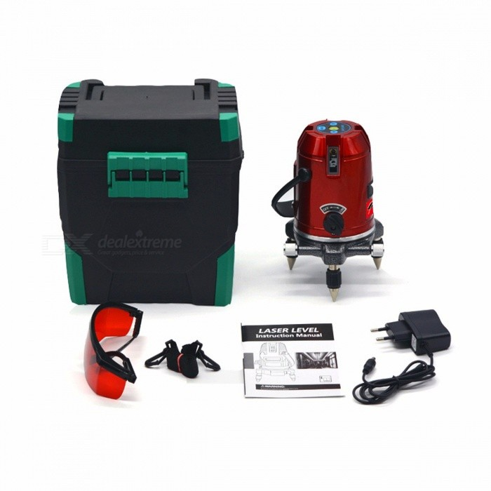 CLUBIONA 6 Points 5 Laser Lines 360 Degrees Rotary 635nm Auto Line Laser Level with Outdoor Mode - Receiver And Tilt Slash