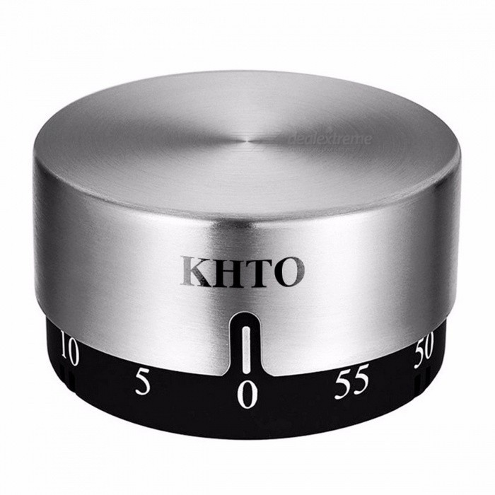 KHTO Mini Portable Stainless Steel Cylinder Round Shape Mechanical Timer, Durable Kitchen Countdown Timer