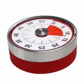 Mechanical Cooking Alarm Counter Clock, Baking Reminder, Stainless Steel Manual Countdown Round Shape Magnetic Kitchen Timer Red