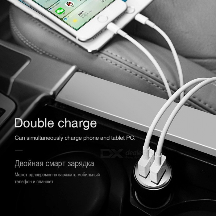 HOCO Z7 Dual USB Car Charger, 2.4A Universal Double USB Port Charging Adapter for IPHONE IPAD Xiaomi Samsung Mobile Smart Phone