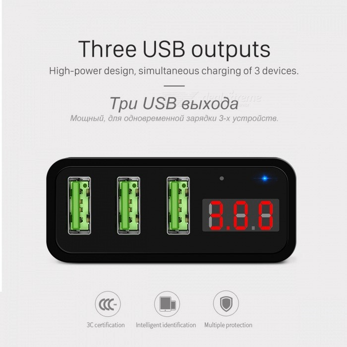HOCO 5V 3A 2 Ports 3 Ports USB Wall Fast Charge Charger US EU Plug Power LED Display Adapter For IPHONE Samsung Mobile Phone