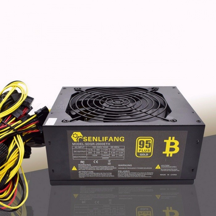 Asic Bitcoin Gold Power 2000W PLUS BTC Power Supply ATX Mining Machine High Quality Supports 8 GPU Cards