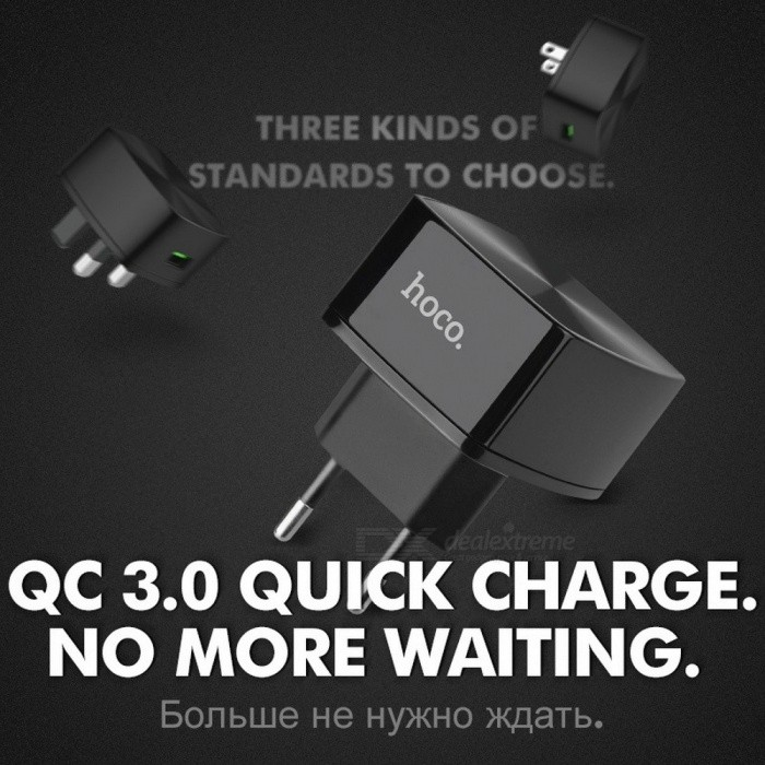 HOCO Universal QC 3.0 Quick Charge USB Wall Charger EU US UK Plug Portable Charging Adapter for IPHONE Samsung Xiaomi Huawei