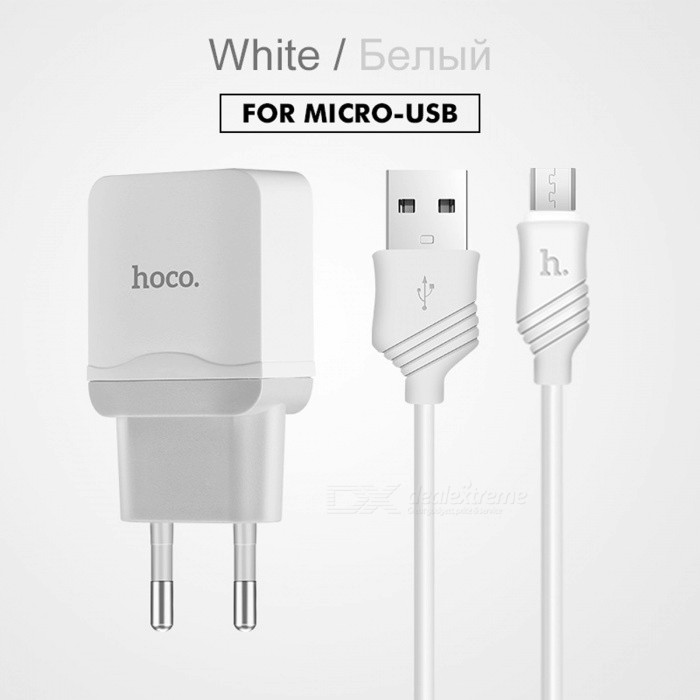 HOCO Universal 5V 2.4A USB Charger Adapter with Charging Cable EU Plug Portable Wall Travel Charger for IPHONE X Samsung Xiaomi EU Plug/WhiteAC Chargers<br>Description<br><br><br><br><br>Compatible Brand: SONY,LG,Meizu,Blackberry,Nokia,HTC,Lenovo,Samsung,Motorola,ZTE,Universal,xiaomi,Huawei,Apple,Other<br><br><br>USB Ports: 1<br><br><br><br><br>Input: 100-240V/0.2A<br><br><br>Type: Travel<br><br><br><br><br>Output Interface: Lightning,USB<br><br><br>Brand Name: HOCO<br><br><br><br><br>Quality Certification: FCC,CE,RoHS<br><br><br>Power Source: A.C. Source<br><br><br><br><br>Output: 5V/2.4A<br><br><br>Support Quick Charge Technology: No<br><br><br><br><br><br><br><br><br><br><br><br><br><br>1. Input: AC100-240V 50/60Hz; <br><br><br>2. Output:&amp;nbsp; DC5.0V 1.0A MAX? <br><br><br>3. EU Plug; <br><br><br>4.PC flame retardant material, firm and durable; <br><br><br>5. Multiple protections for the circuit including overcurrent and overvoltage protections; <br><br><br>6. Weight: 29g?78mm*35mm*23mm. <br><br><br><br>&amp;nbsp;<br><br><br><br>Please choose carefully.&amp;nbsp; <br><br><br>Only Charger - we will send only charger, without any cables. <br><br><br>With Micro USB cable - we will send charger with Micro-USB cable. <br><br><br>With Apple IPHONE cable - we will send charger with Apple cable. <br><br><br>&amp;nbsp;<br><br><br>Please note this charger do not support any quick charge&amp;nbsp;technologies.<br>