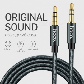HOCO 3.5mm Jack Male to Male Audio Cable Aux Cable with Microphone for Car IPHONE MP3 / MP4 Headphone Speaker 1m with Microphone/Dark Silver