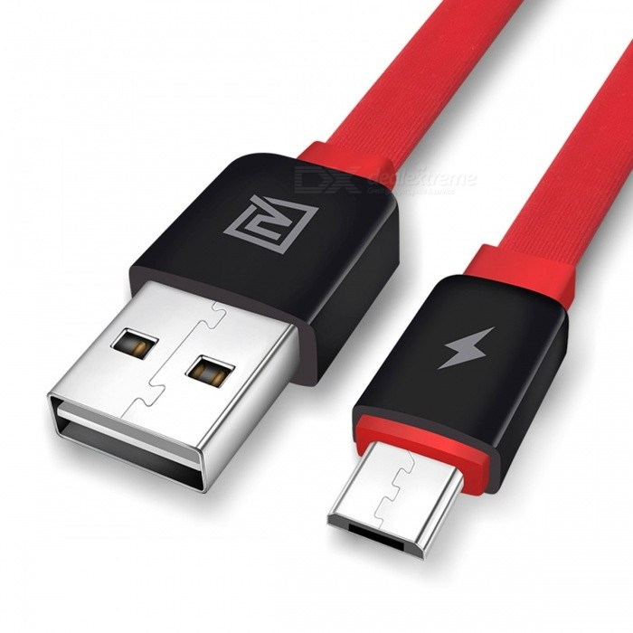 REMAX Flat Micro USB Data Cable, 2.1A Dual USB Side Fast Charging Flexible Sync Data Cable for Samsung/Xiaomi/HTC/Huawei