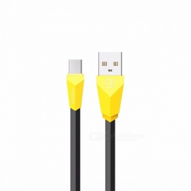 REMAX ALIENS 2.1A Micro USB Data Cable, Diamond Noodle Flat Charger Sync Data Flexible Cable for Samsung/Xiaomi/LG/Sony 1m/yellow