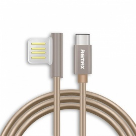 REMAX USB3.1 Type-C Data Cable, Portable 90 Degree Dual USB-C Durable Charger Cable for Nexus 5X 6P HTC 10 LG G5 1m/Silver