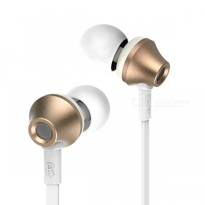 Remax RM-610D Stereo Music In-ear Metal 3.5mm Wired Earphone, Super Clear Noise Isolating Earbuds with Mic for Mobile Phone