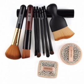 Practical Basic 10-in-1 Facial Cosmetic Tool Set with 8Pcs Facial Makeup Brushes and 2Pcs Shadow Powder Puff Suit Black