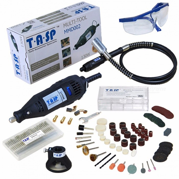 TASP 220V 130W Electric Mini Drill Engraver Rotary Tool Set with Flexible Shaft and 140Pcs Accessories Power Tools
