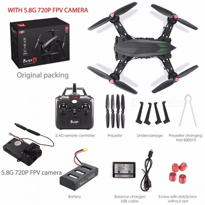 MJX Bugs 6 Professional Racing RC Drone, HD 720P 5.8G FPV and VR Glass Live Video Quadcopter w/ RTF Brushless Motor With cameraR/C Airplanes&amp;Quadcopters<br>Description<br><br><br><br><br>Type: Helicopter<br><br><br>Features: Remote Control<br><br><br><br><br>Aerial Photography: No<br><br><br>Age Range: 8-11 Years,& 14 years old,12-15 Years,5-7 Years,Grownups<br><br><br><br><br>UL: Certificate<br><br><br>Material: Resin,Plastic,Rubber,Metal<br><br><br><br><br>State of Assembly: Ready-to-Go<br><br><br>Package Includes: USB Cable,Charger,Original Box,Operating Instructions,Batteries,Remote Controller,Other<br><br><br><br><br>Barcode: No<br><br><br>Brand Name: kedior<br><br><br><br><br>Control Channels: 4 Channels<br><br><br>Controller Mode: MODE2<br><br><br><br><br>Power Source: Electric<br><br><br>Certification: UL<br><br><br><br><br>Remote Control: Yes<br><br><br>Motor: Brushless Motor<br><br><br><br><br><br><br><br><br>Value 1: Drone with Camera HD <br><br><br>Value 2: RC Brushless Drone <br><br><br>Value 3: Brushless Drone <br><br><br>Value 4: RC quadcopter <br><br><br>Value 5: Quadcopter RTF <br><br><br>Value 6: MJX Drone <br><br><br>Value 7: MJX Bugs 6 <br><br><br>Value 8: Professional Drone <br><br><br>Value 9: Camera HD 720P 5.8G FPV <br><br><br>Value 10: VR Glass <br><br><br><br>Product Description: <br><br><br>1806 1600KV BRUSHLESS MOTOR increase motor durability. <br><br><br>2S 1300mAh LI-POLYMER BATTERY, bigger than bigger. <br><br><br>INDEPENDENT ESC MOTOR LOCK PROTECTION. <br><br><br>TWO-WAY 2.4GHz RADIO CONTROL TECHNOLOGY with WEAK SIGNAL ALERT and LOW VOLTAGE ALERT. <br><br><br>HIGH / LOW SPEED MODE and UPGRADED ANTI-BREAK STRUCTURE. <br><br><br>Color: Black <br><br><br>Size: 15.4 * 10 * 6.3 <br><br><br>Frequency: 2.4G <br><br><br>Camera: No <br><br><br>Motor: 1806 1600KV brushless <br><br><br>ESC: 6A (No BEC, with lock protection) <br><br><br>Drone Battery: 7.4V 1300mAh Li-Po (included) <br><br><br>RC Battery: 4 * AA 1.5V batteries (not included) <br><br><br>Flying Time: 12 minutes <br><br><br>Charging Time: 3 hours <br><br><br>Flight Distance: 300 meters <br><br><br>&amp;nbsp;<br><br><br>Function: ascend/descend, fly forward/backward/right/left, side flight, hover, flip, &amp;nbsp;360°roll-over, etc. <br><br><br>&amp;nbsp;<br><br><br>Package List:  <br><br><br>1*MJX Bugs 6 Quadcopter <br><br><br>1*Transmitter <br><br><br>1*Manual <br><br><br>1*Balance Charger <br><br><br>1*USB Charging Cable <br><br><br>1*7.4V 1300mAh Battery <br><br><br>4*Propeller Blades <br><br><br>1*Propeller Changing Tool <br><br><br>1*UV Sticker <br><br><br>&amp;nbsp;<br><br><br>Note: Please match the frequency of the transmitter and the drone before first flight. <br><br><br>&amp;nbsp;<br><br><br>Optional Parts: C5830 camera, 4.3 inch screen display 5.8G 720P image transmission(300 meters of transmission distance), G3 goggles <br><br><br>Note: If your order option with a G3 goggles, the goods will be too big to packed in two parcels.<br>