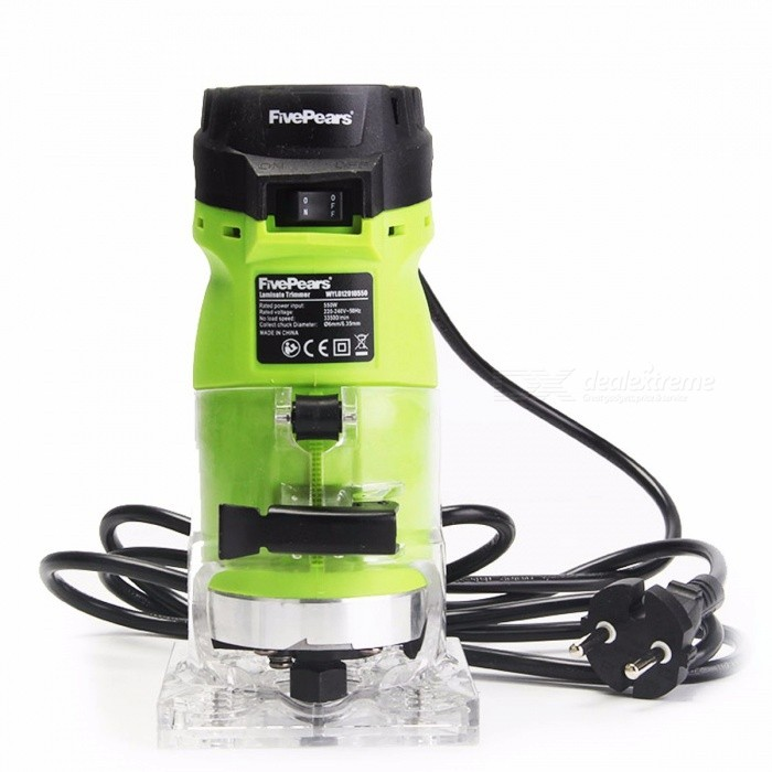 FivePears 6mm and 1/4 Woodworking Trimmer Tool, 550W Power Electric Router for Woodwork with European EU Plug colorfulDescription<br><br><br><br><br>DIY Supplies: Woodworking<br><br><br>Rated Input Power: 550W<br><br><br><br><br>Frequency: 50Hz<br><br><br>is_customized: Yes<br><br><br><br><br>Rated Voltage: 220V<br><br><br>Brand Name: LUSUN<br><br><br><br><br>No-Load Speed: 30000rpm<br><br><br><br><br><br><br><br><br><br><br><br><br>Box included<br><br><br>1) Machine body: 1pc<br><br><br>2) Straight guide: 1pc<br><br><br>3) Trimmer guide:1pc<br><br><br>4) Guide bushing: 1pc<br><br><br>5) Spanner: 1pc<br><br><br>6) Spare carbon brushes: 1set<br>