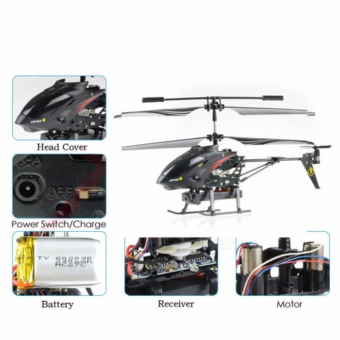 S977 Portable Folding 3.5CH Radio Remote Control Metal RC Helicopter Toy with 1.3MP Camera, Gyro for Kids