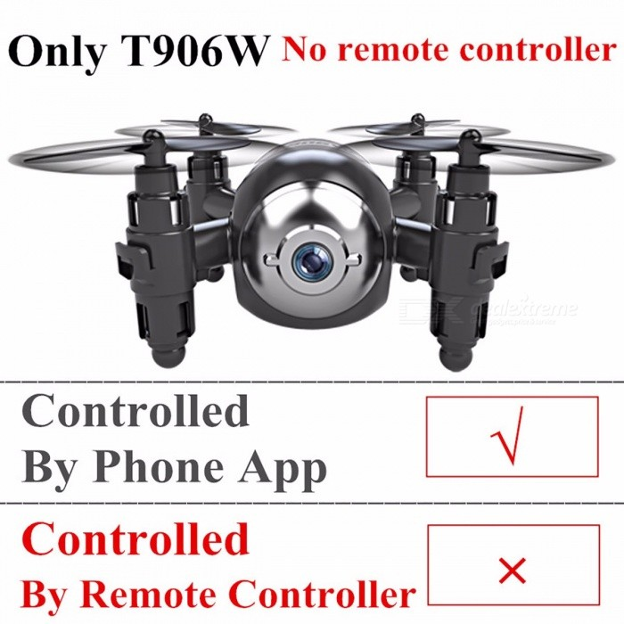 Gteng T906W Portable Mini FPV Drone Quadcopter Helicopter, Selfie Remote Control Toy with HD Camera for Kids