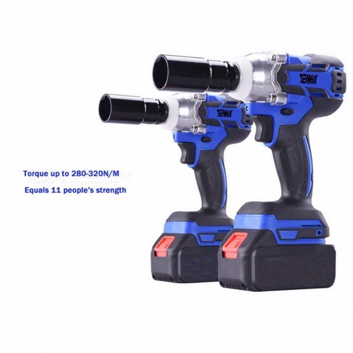 TENWA Brushless Electric Wrench, 21V Cordless Power Tool 320N.m Torque Rechargeable Impact Wrench w/ 4500mAh Lithium Battery
