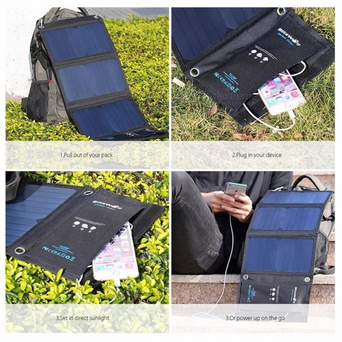 BlitzWolf 20W Portable Solar Power Bank Solar Panel Charger External Battery Universal Powerbank for IPHONE Xiaomi Phones