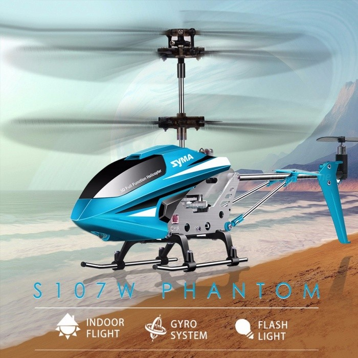 Original SYMA S107W 3.5CH Indoor RC Helicopter, Aluminium Alloy Shatterproof Remote Control Aircraft for Children Toy