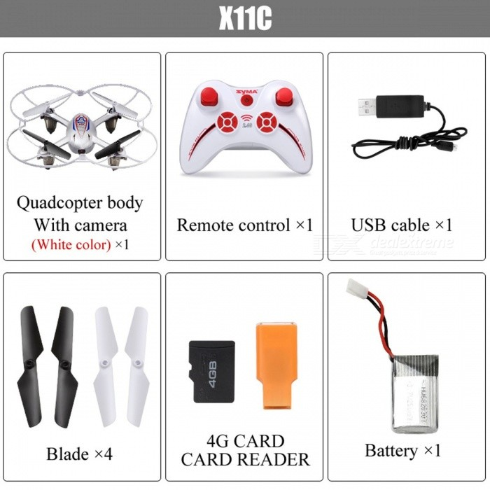 Syma X11C Mini HD 4CH 2.4GHz RC Helicopter Drone Aircraft Quadcopter with 2.0MP Camera, Brushless Motor for Children