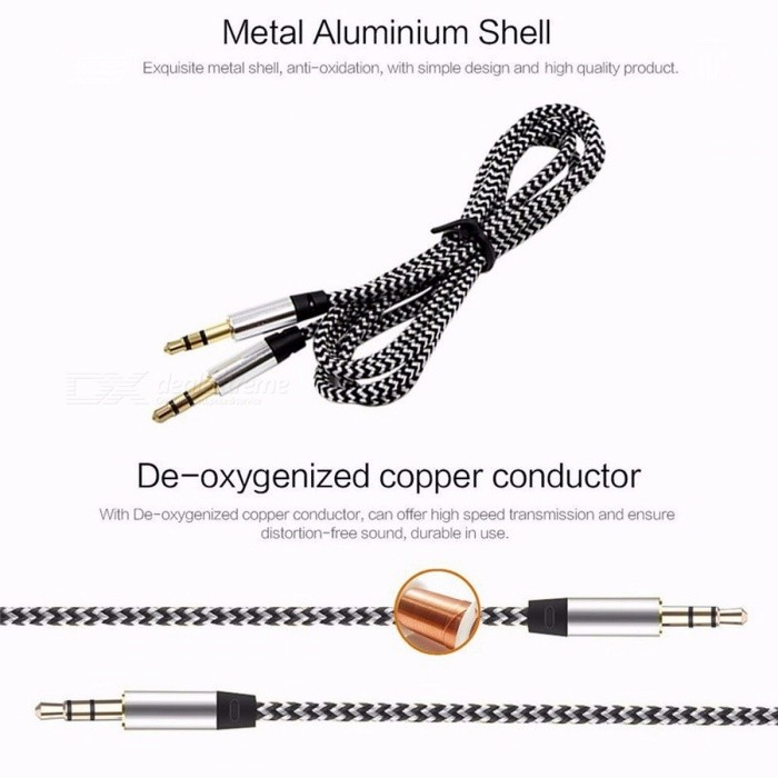 3.5mm to 3.5mm Jack Male to Male Nylon Auto Car Audio Aux Cable, Gold Plug Kabel Line Cord for IPHONE 7, Xiaomi, Speaker