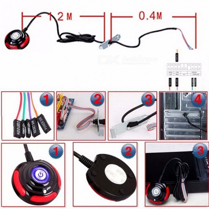 Desktop Computer PC Case Power Supply On/Off Reset HDD Push Button Switch with 1.6m Cable for Home / Office