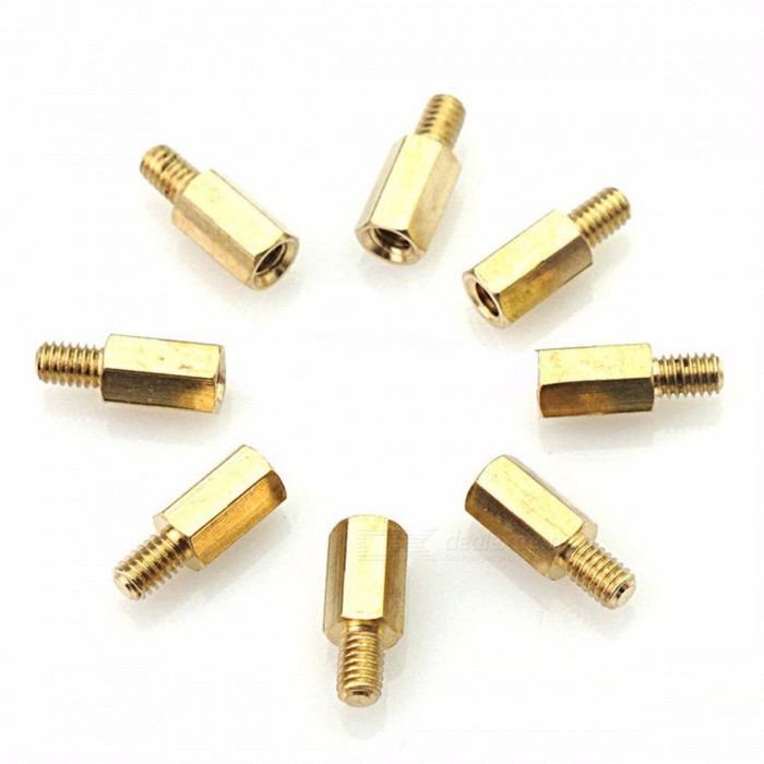 50Pcs HY028 M3x10+6 Hexagon Copper Screws Motherboard Riser, M3*10mm Hex Head Nut, Computer PC Repair Power Screw Washer Tool  50pcs