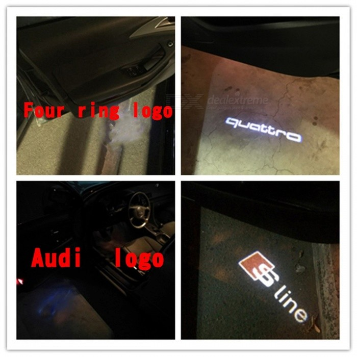 LED Car Door Welcome Light Laser Projector Sline Logo For Audi A1 A3 A5 A6 A8 A4 B6 B8 C5 80 A7 Q3 Q5 Q7 TT R8 Sline 2PCS