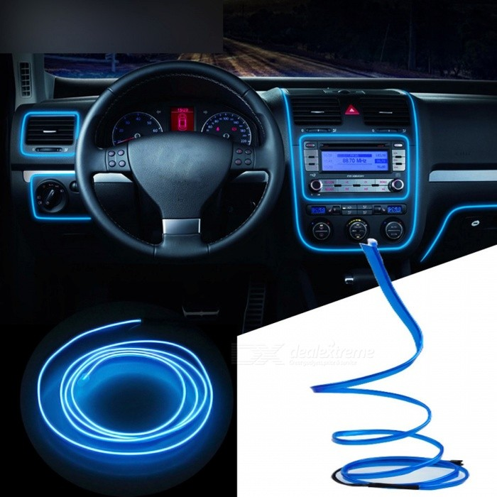 portable super bright 12v led flexible neon el wire auto lamp light strip for car