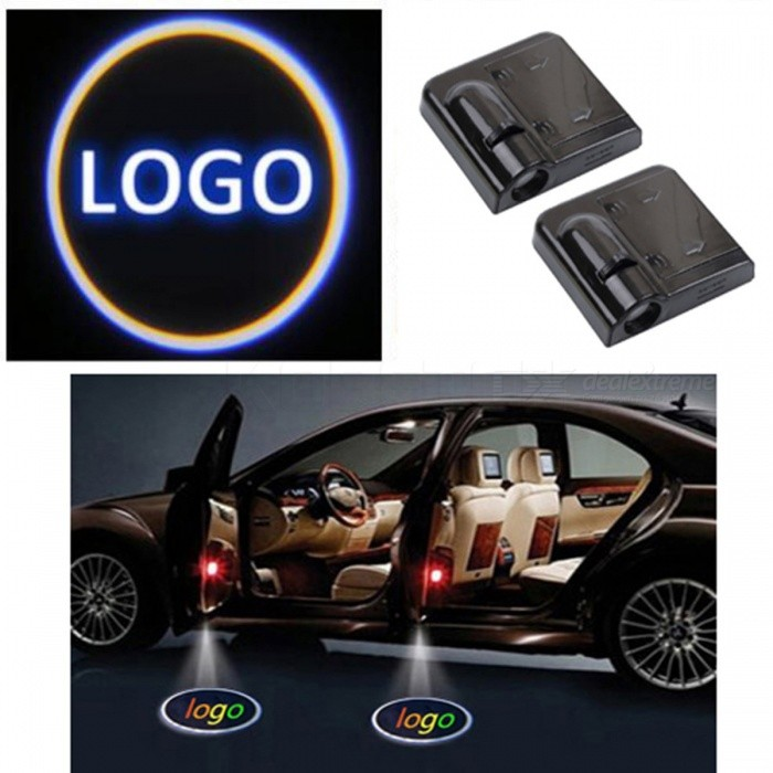 Kebedemm Wireless Car Door Welcome Light Car Door Shadow LED Welcome Lamps LED Laser Ghost Shadow Projector Lamp for BMW VW 2PCS