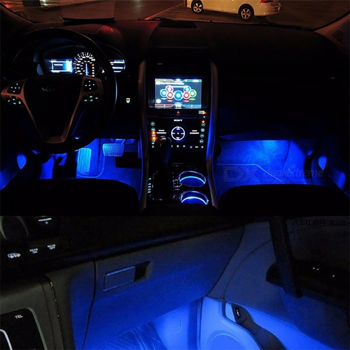 4-in-1 Blue 12V 4 x 3 LED Car Interior Light Decorative Atmosphere Light High Quality Decoration Lamp