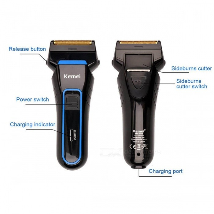 Kemei Men's Cordless Rechargeable Reciprocating Double Blades Electric Shaver Razor Trimmer w/ Floating Heads