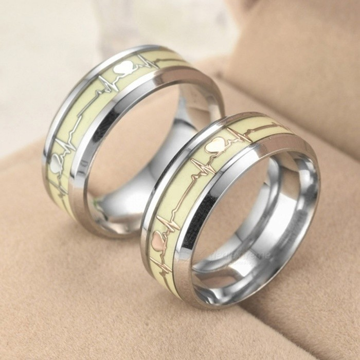Cool Romantic Love Heart Decoration Luminous Ring Glowing in the Dark  Couple Ring Stainless Steel Jewelry 2dc29bfd40e