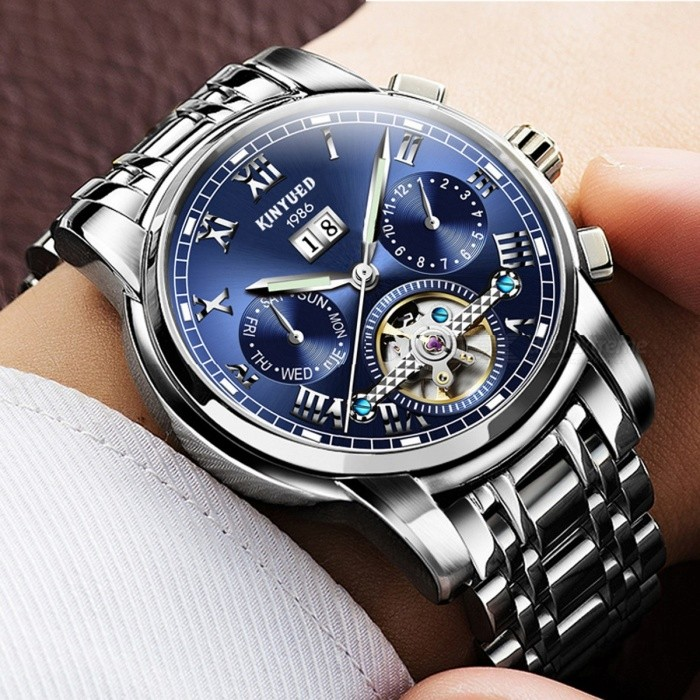 KINYUED Luxury Classic Men's Watches Mechanical Wristwatch Sapphire Stainless Steel Gentleman Fashion Watch