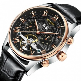 KINYUED Men's Skeleton Tourbillon Mechanical Watch Automatic Classic Rose Gold Leather Mechanical Wrist Watch White