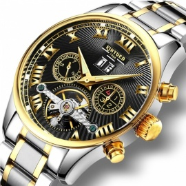 KINYUED Business Mechanical Watches Mens Skeleton Tourbillon Automatic Watch Men Gold Steel Calendar Waterproof Relojes Hombre Brown Leather Band