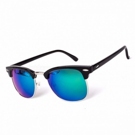 High Quality Chic Half Metal UV400 Classic Sunglasses for Men and Women, Fashion Mirror Sun Glasses Eyewear C7 black green